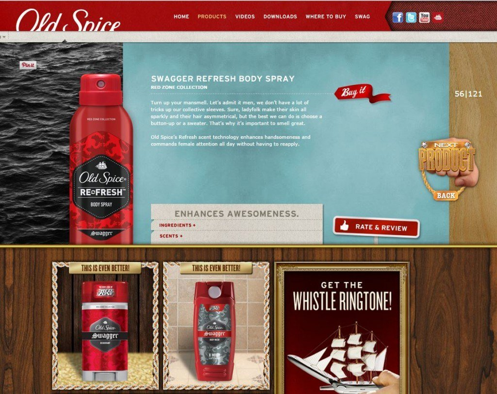 copywriting on old spice website