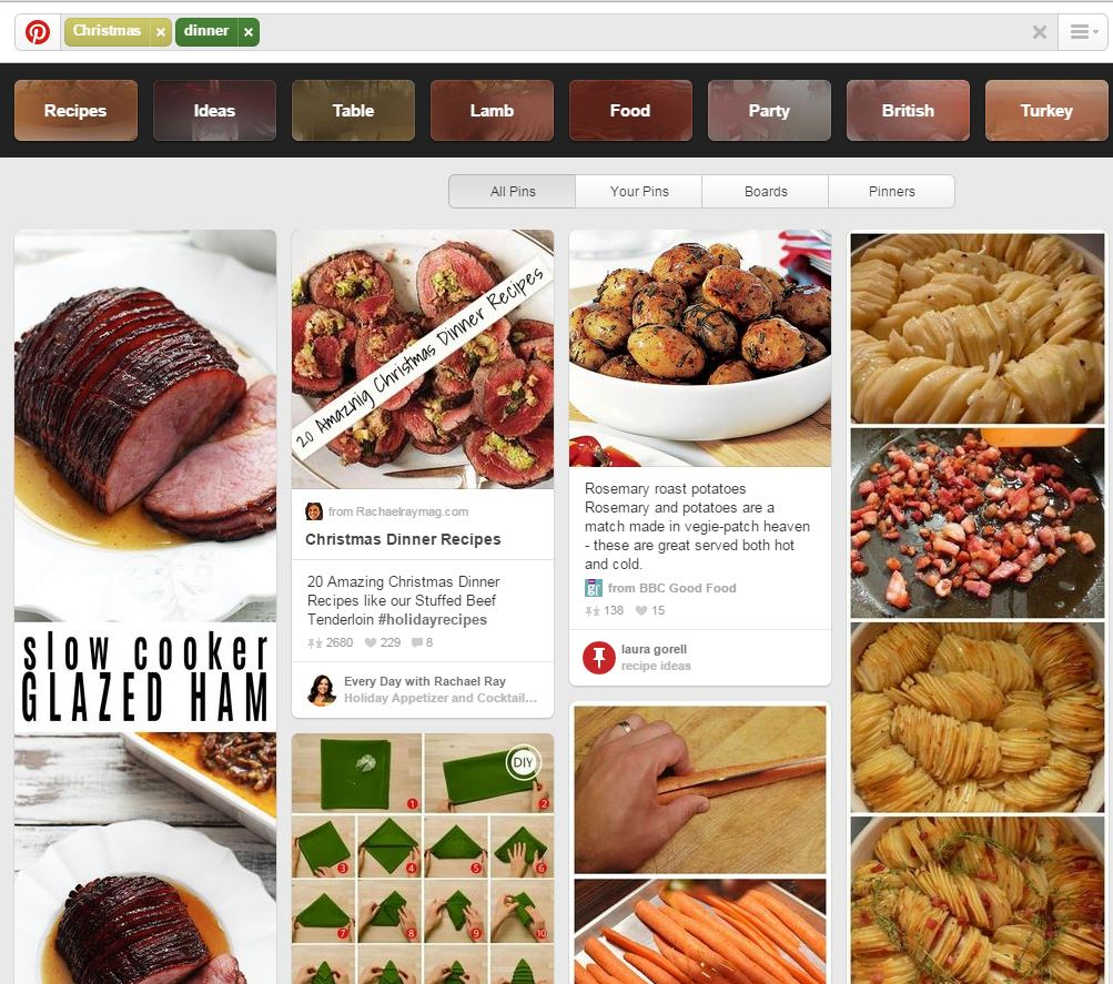 christmas dinner pinterest search