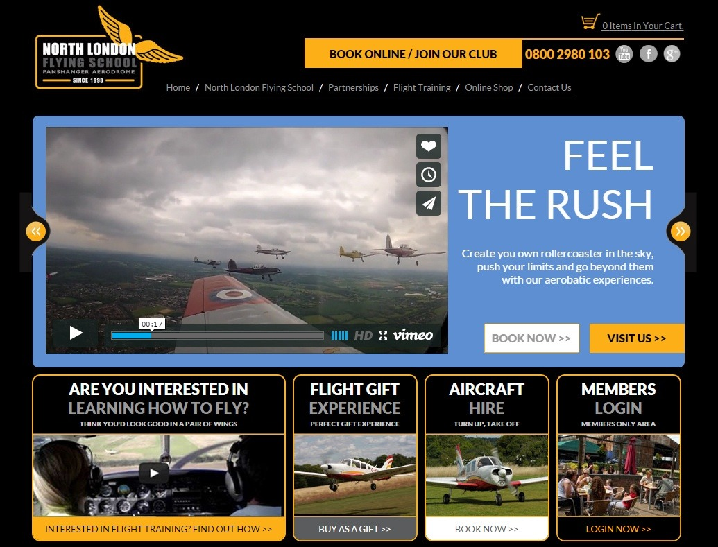 north-london-flying-school-website-design