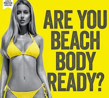 Protein World ad entitled 'Are You Beach Body Ready?' with thin bikini clad woman