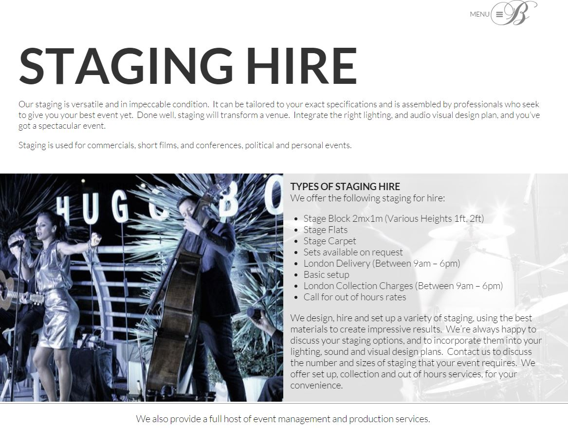 events company webpage design