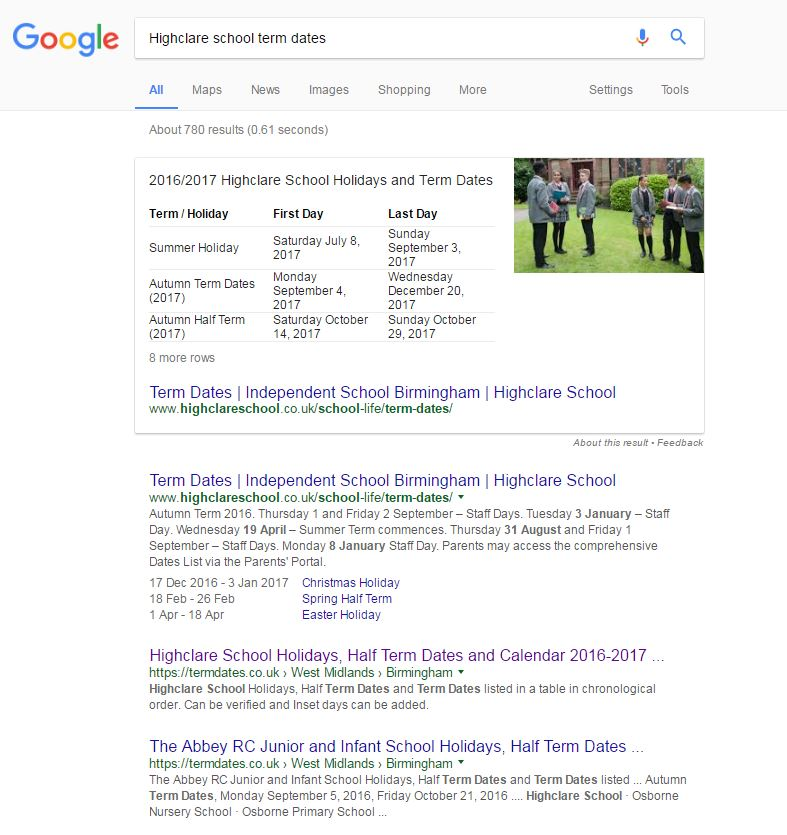 school-featured-snippet-google